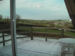 South Devon dog friendly holiday home in Winter with enclosed garden with countryside views